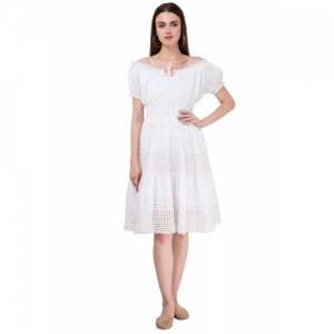 SAAKAA White Polyester Casual Off-Shoulder Dress