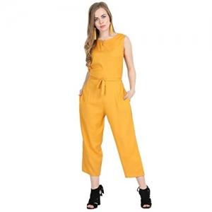 Sadatapan Mustard Rayon 3/4 th Length Jumpsuit