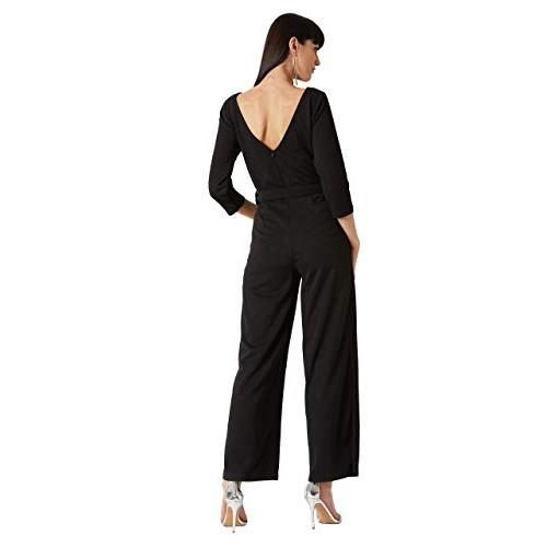 Miss Chase Black Polyester Back V-Neck Belted Wide-Leg Side Slit Jumpsuit