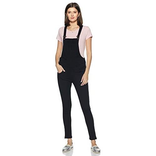 Slvete Black Denim Strechable Slim Fit White Side Stripe Dungarees