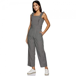 Rare Black & White Synthetic Checked Gingham Square Neck Sleeveless Frill Jumpsuit
