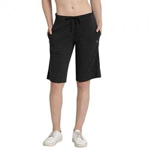 Enamor Black Cotton Comfortable Solid Shorts