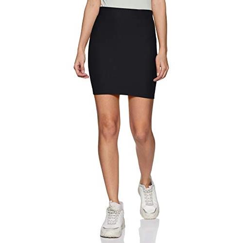 Poles Apart Black Cotton High Waist  Pencil Mini Skirt