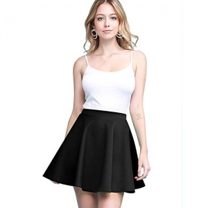 Stars and You Black Four Way Stretchable Polyester Flared Skater Skirt