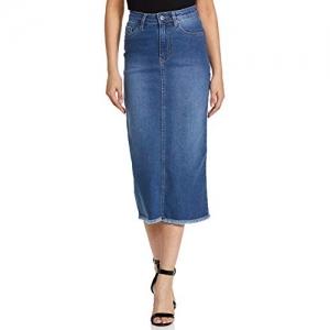 AKA CHIC Blue Denim Pencil Calf Length Skirt