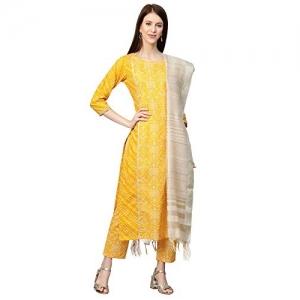 INDO ERA Yellow Cotton Printed Straight Salwar Suit Set