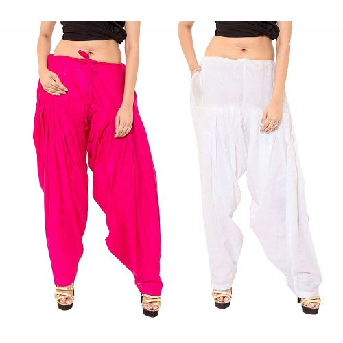Branded Filter Products White Pink Traditional Semi Patiala Salwar Pack of 2