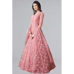 Nir Fashion Pink Net Chain Stitch Semi Stitched Anarkali Gown
