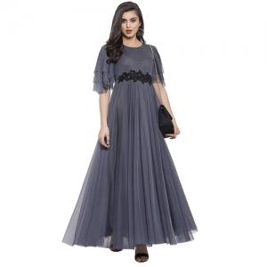 Rebika Trendz Grey Net Full Stiched Anarkali Gown