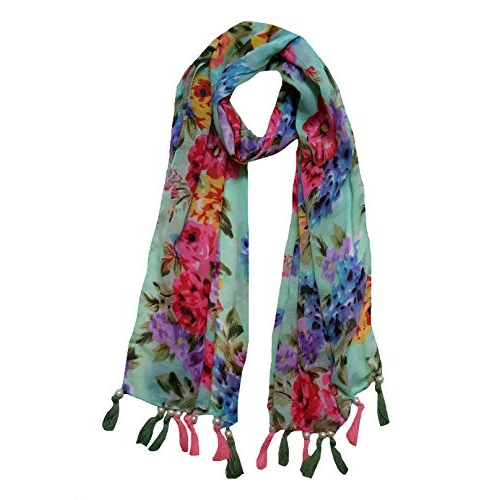 Letz Dezine Multi Color Printed Polyester Scarf and Stoles with Pearl Tassels - Set of 6