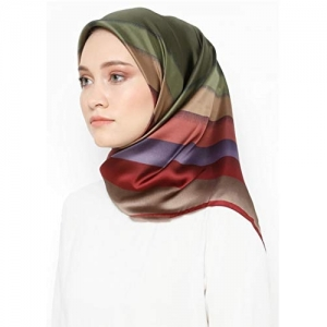 cloudbox Multi Color Satin Silk Printed Square Scarf/Hijab Dupatta