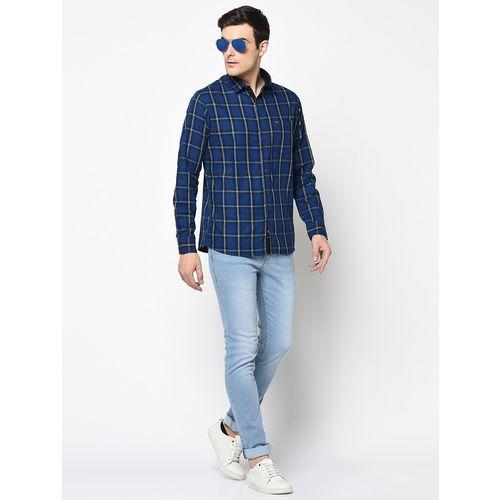 Duke navy blue checkered casual shirt