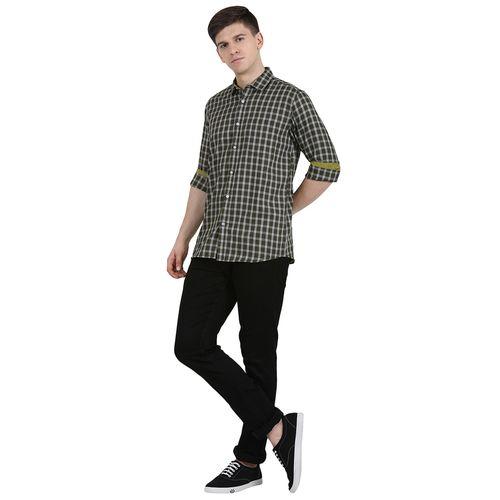 ANCIENT JOCK olive green checkered casual shirt