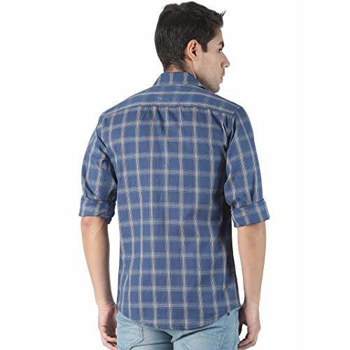 LEVIZO Cotton Casual Check Shirt for Men Full Sleeves Regular Fit