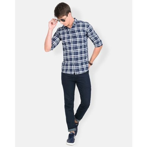 CAMISA Full Sleeves Slim Fit Shirt with Checked Detail