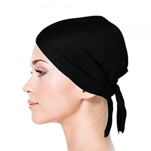 V3E Black Cotton Hijab Solid Under Scarf