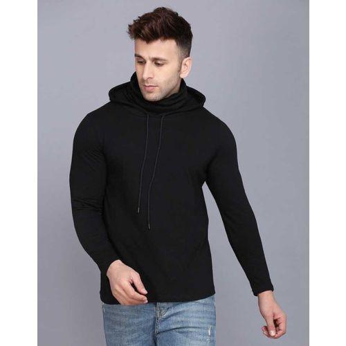 FineRogue Solid Men Hooded Neck Black T-Shirt