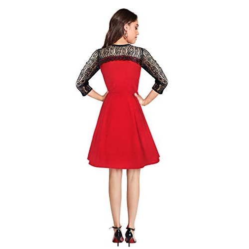Illi London Women's Red Polyester Knee Length Dress ( IL D-73,197,195,196_Red_Small)