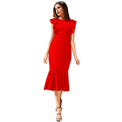 ILLI LONDON Women's Red Polyester Solid MIDI Dress (Small, RED)
