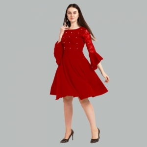 Sheetal Associates Women Red Crepe Solid Fit and Flare Dress