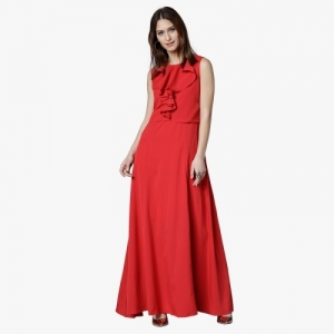 Tokyo Talkies Women Red Cotton Solid Maxi Dress