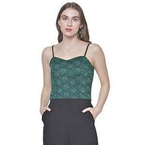Martini Green Sleeveless Western Stylish Lace Crop Cami Top
