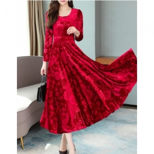 Westchic Women's Red Velvet Floral Western Dress