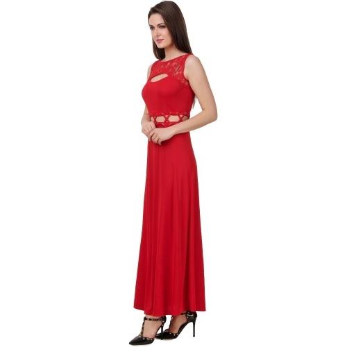 Texco Red Cotton Plain Sleeveless Maxi Dress
