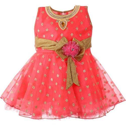 SAMJHO FASHION Baby Girls Midi/Knee Length Festive/Wedding Dress(Red, Sleeveless)