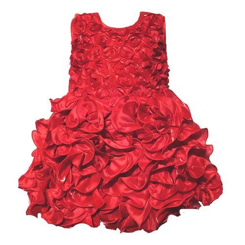 RG Collection Baby Girls Midi/Knee Length Festive/Wedding Dress(Red, Sleeveless)