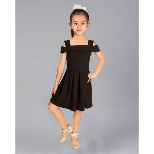 Ethnos Fashion Girls Midi/Knee Length Party Dress(Black, Fashion Sleeve)