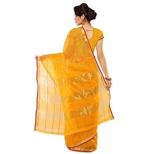 Sidhidata Yellow Cotton Cheked  And Pallu Zari Saree