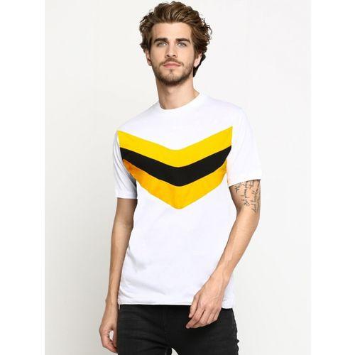 LEWEL Color Block Men Round Neck White, Yellow, Black T-Shirt
