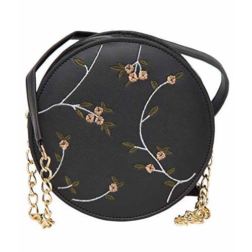 ADISA Black Polyurethane Embroidered Sling Bag