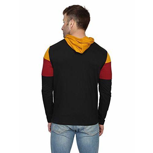 Katso Mens Cotton Hooded T-Shirt NG-THOOD-STRP-MSTRD-MRN-BLK