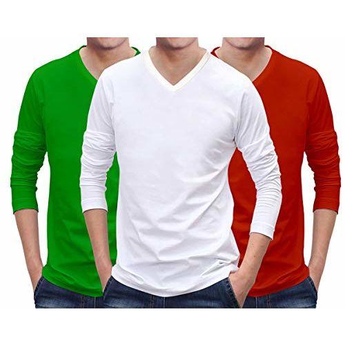 CRICMARKET.COM Cricmarket Mens Combo V Neck Full Sleeves Pack of 3 Cotton Plain Green, White, Red t Shirts. Casual, Stylish, Plain Tshirts