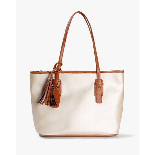 Fig Metallic Tote Bag with Tassel