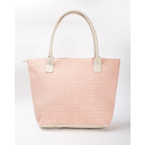 Zaregare Geometric Woven Tote Bag with Double Grab Handles
