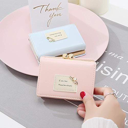 PALAY Women's Wallet Purses - Leather Wallet Women Credit Card Holder Ladies Purse Clutch Holder Case with Heart-Shaped Metal Buckle Gift (Light Pink)