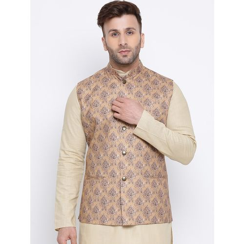 Namaskar brown printed linen nehru jacket