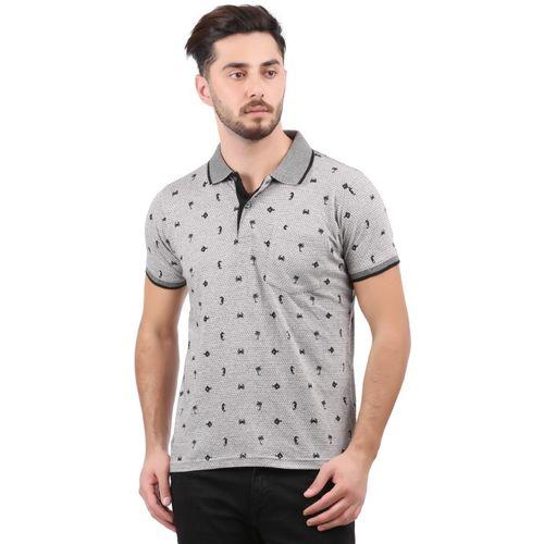 Wexford Printed Men Polo Neck Grey T-Shirt