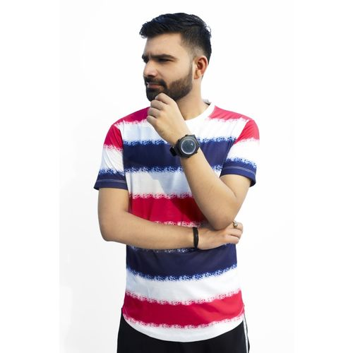 Tween Trends Striped Men Polo Neck Reversible Multicolor T-Shirt