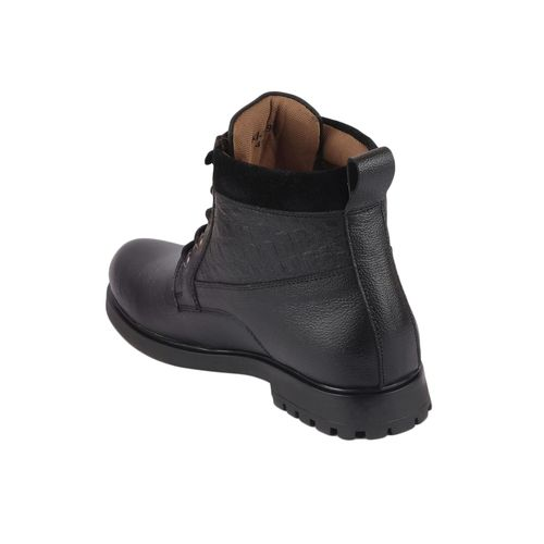 FAUSTO black leather lace up boots