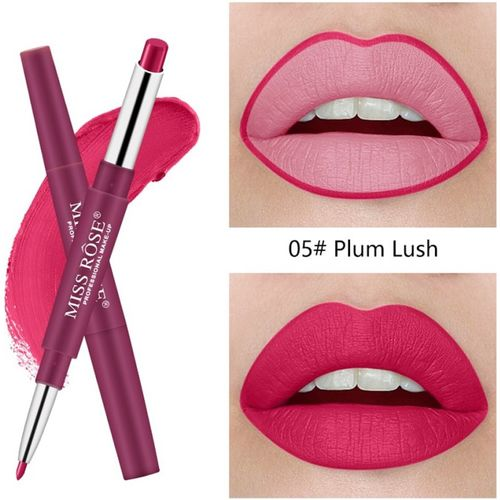 Miss Rose 2 In 1 Matte Lip Stick And Lip Liner Pen Waterproof Lasting skin Smooth Lipstick Pencil (5) - Pack of 1(Pink)