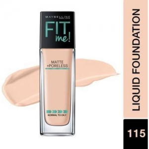 MAYBELLINE NEW YORK Fit Me Matte+Poreless Liquid 115 Color With Pump Foundation(115 Ivory, 30 ml)