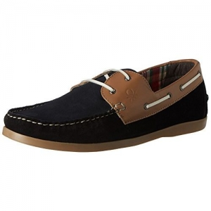United Colors of Benetton Men's Black (901) Leather Boat Shoes - 8 UK (16A8SUEDFW36I)
