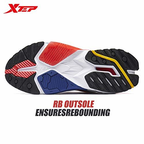 XTEP Men's White and Black Red Fashionable Star-X Air Mega Casual Shoes with Soft Textile and Synthetic Leather Upper (7.5 UK)