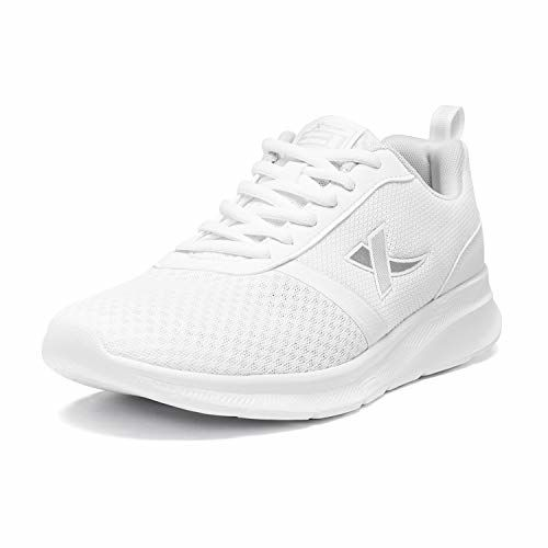 XTEP Men's White Flexible Textile and Synthetic Leather Upper Lightweight Running Shoes