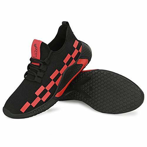 SHUZER68 Mens Sports Running Walking Shoes RED Black