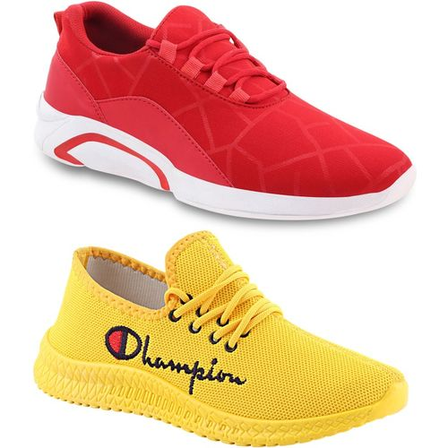 Chevit Lightweight Combo Pack of 02 Trendy Sneakers Casuals For Men's (Red, Yellow) Sneakers For Men(Red, Yellow)